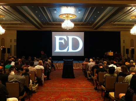 "A projection of the word ""Ed,"" set in all-caps Benguiat, setting the stage for Ed Benguiat's keynote at TypeCon 2011."